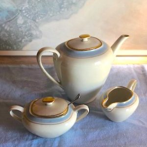 Danish teapot with sugar and milk