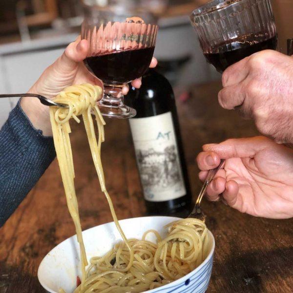toasting with spaghetti