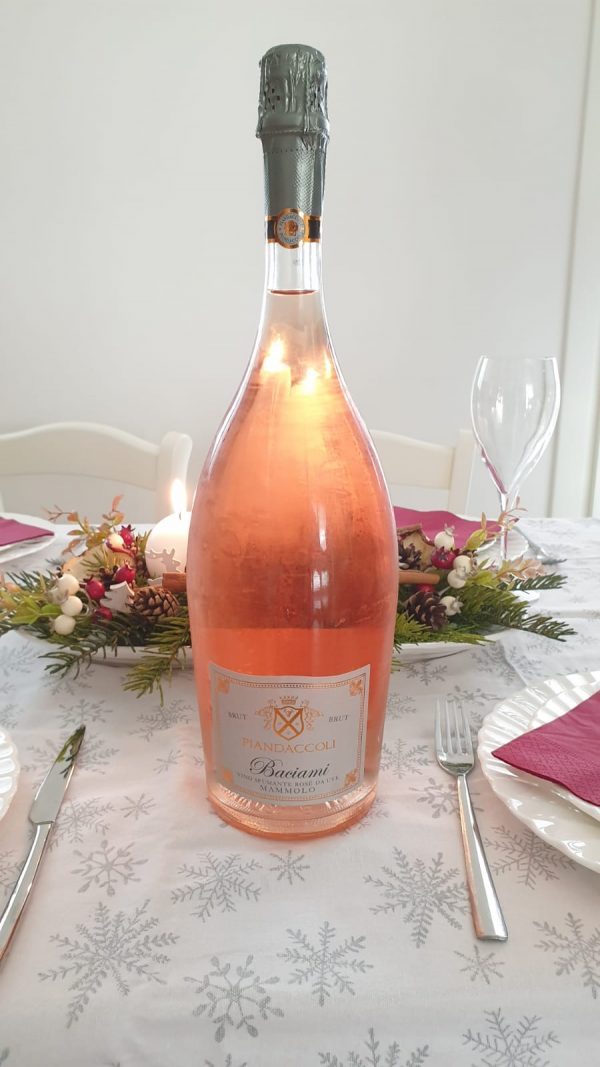 A bottle of Baciami, our favorite pink bubble
