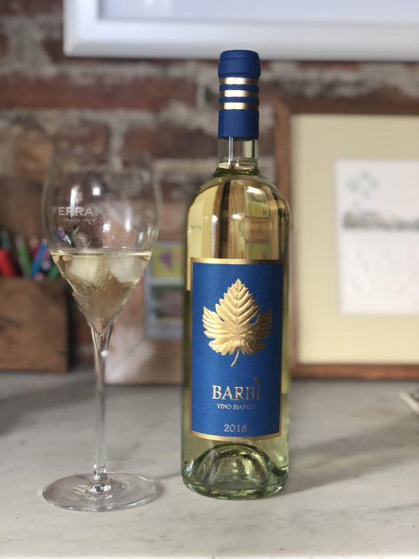 Bottle of white wine Barbì